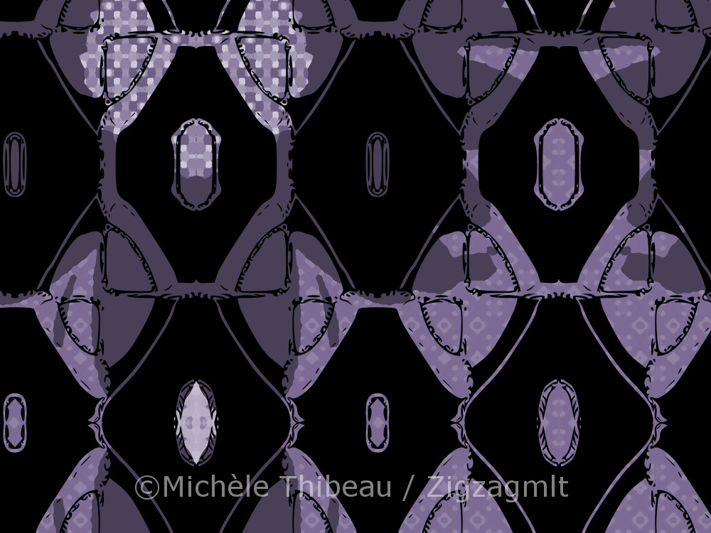 An experiment in recolouring the black and white design block. Diamonds splashed in shades of purple.