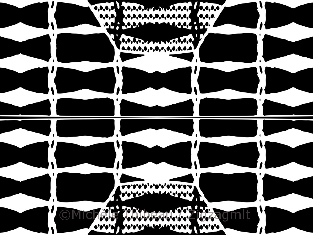 Experimenting with a basic geometric flower shape and pattern. Playing with scale in black and white.
