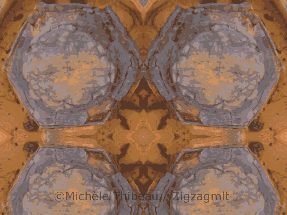 Working that delightful pocket of rust produced a repeat pattern rich in oranges and grey-blues.